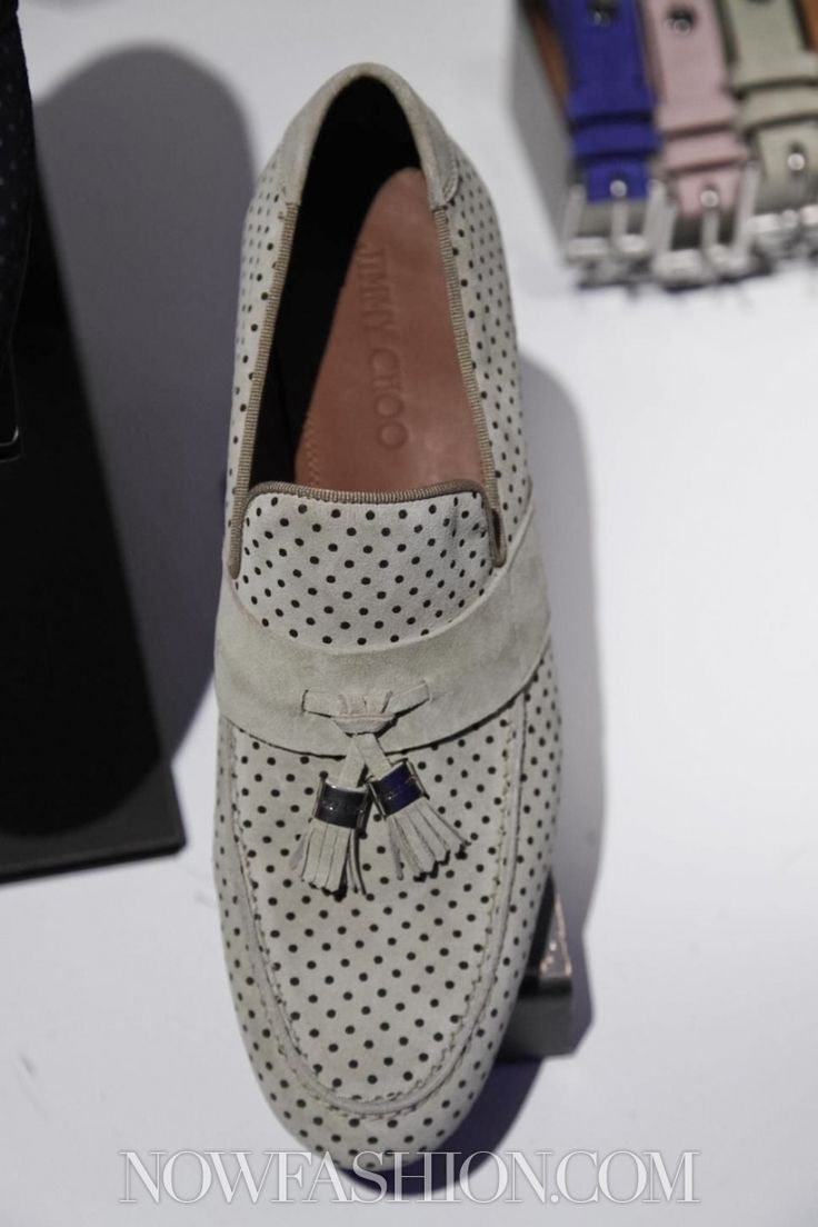 Taupe Suede Perforated Tassel Loafer, by Jimmy Choo, London. Men's Spring Summer Fashion.