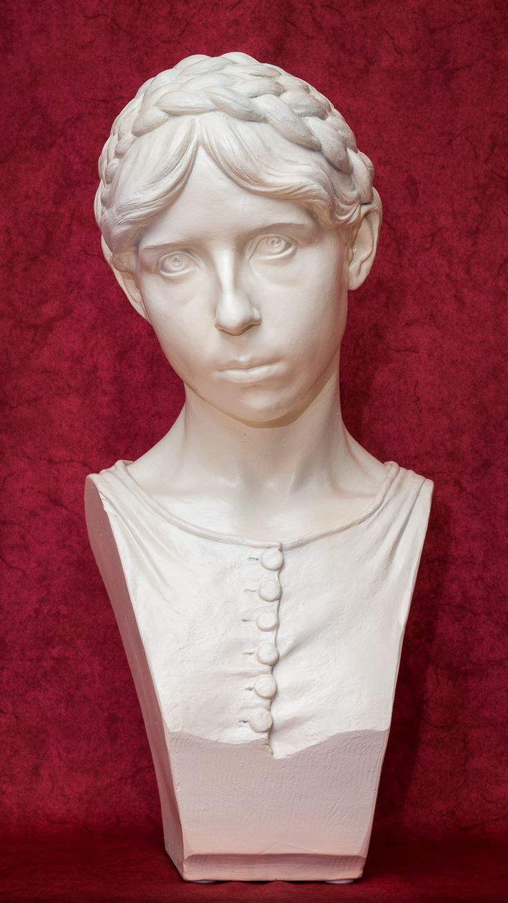 Portrait bust by Daniel Stocker (white ceramic - originally dark surface - later painted white, 53 cm)