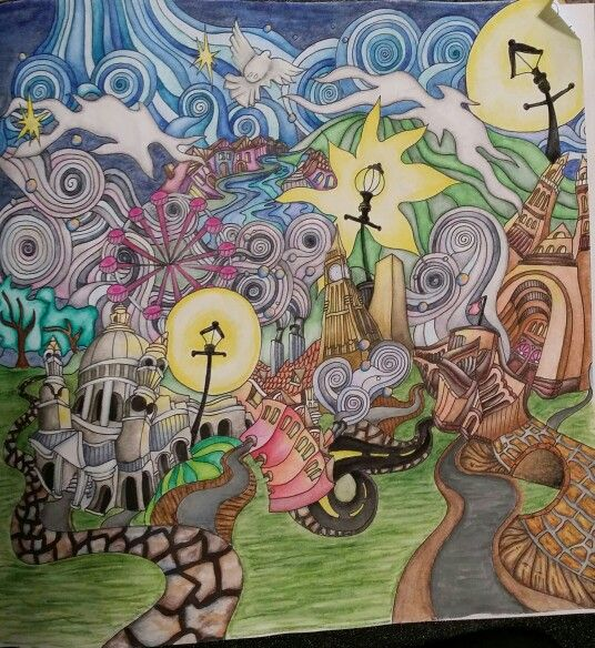 The Magical City Coloring Book Page Title London Panorama 2