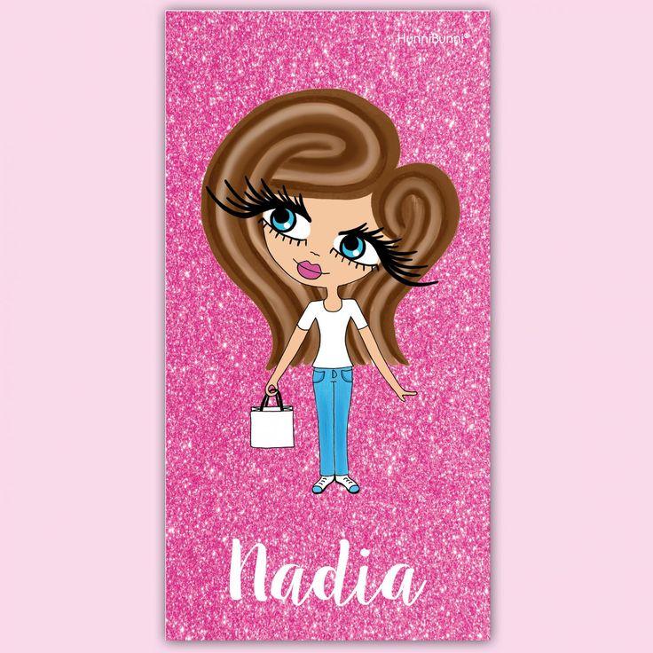 HunniBunni Little Miss Pink Glitter Print Personalised Beach Towel
