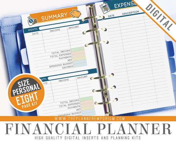 Personal Financial Planner Inserts Fits by ThePlannerEmporium
