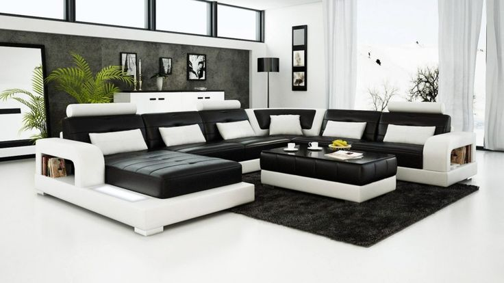 Contemporary Black and White Leather Sofa Set Sleeper Sofa