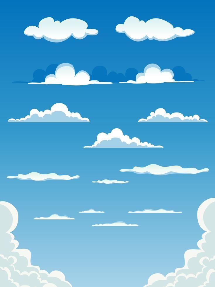 Conjunto De Nubes De Dibujos Animados Dibujos De Nubes Nubes Nubes Animadas