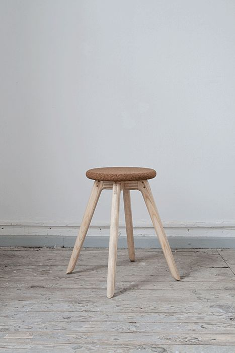 Hans Stool (Florian Saul, 2013): A Cork Seat Reinforced By Graceful Wooden