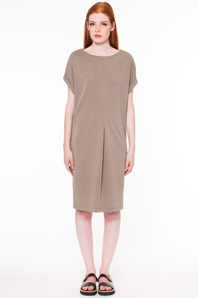 Fern Dress by Canadian fashion designer Valerie Dumaine. Midi length modal jersey dress with short cuffed sleeves and pleat at front. Responsible fashion from Montreal, Canada.