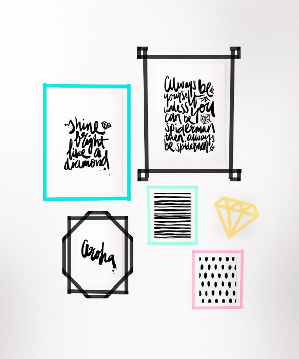 DIY Washi tape frames with prints by Maiko Nagao                                                                                                                                                      More