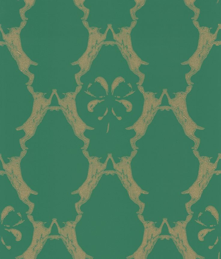 Boxing Hares Billiard Green wallpaper by Barneby Gates