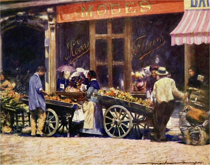 Jour de marché dans la rue La Fayette, un beau matin de 1909. Une oeuvre du peintre australien © Mortimer Menpes (1855-1938) (Paris 9e/10e)
