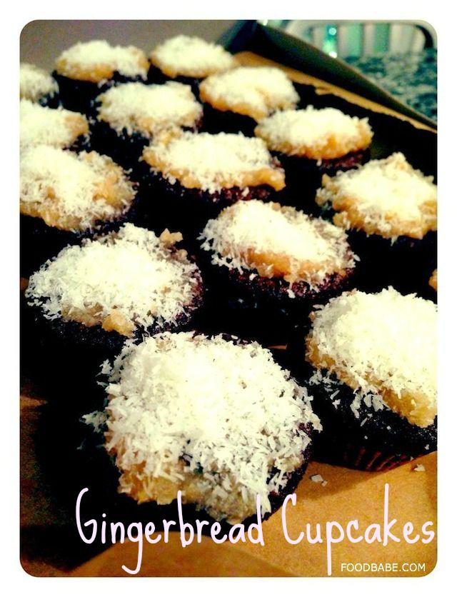 Gingerbread CupCakes: Coconut oil, coconut sugar, molasses, eg, spelt flour (or almond flour and coconut flour), ground ginger, cinnamon, salt, ground cloves, water, baking soda.   Coconut Manna Frosting: coconut butter/manna, vanilla, maple syrup, coconut flakes.  YUUUUUUM