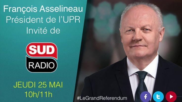 """Le président de l'UPR était l'invité de Philippe David sur Sud Radio sur le thème : Pour Donald Trump, est-ce que l'Europe et la France, c'est """"peanuts"""" ?"""