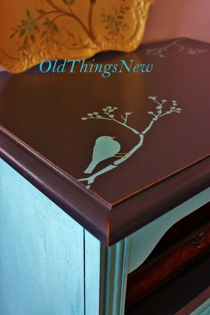 Old Things New: Turquoise Bedside Table
