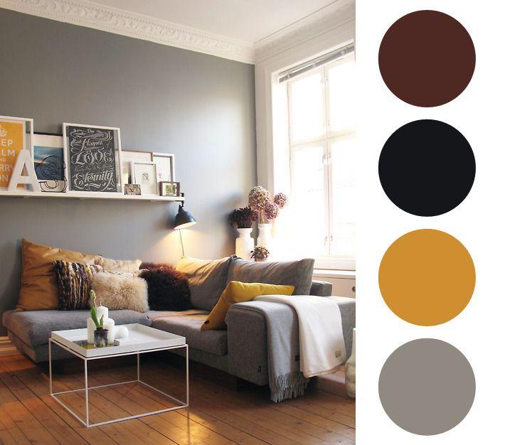 25 melhores ideias sobre paleta de cores cinza no for Sala de estar marron