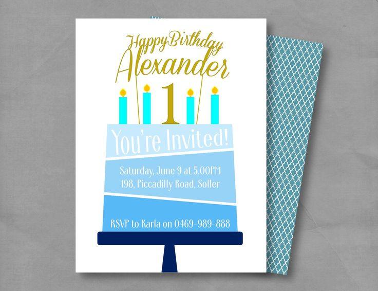 Boy Birthday Cake Party Invitation/Boy Birthday Invitation/Blue Birthday Invitation by GROWaPEARcreations on Etsy