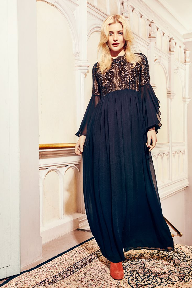 #fashIon #bytimo #ti-mo #vintage #romantic #clothes #norwegian #style #bohemian #spring #summer #webshop #shop #instagram #pattern #embroidery #flowers #lace #lookbook #clothes #model #lace #maxidress #dress #night #partydress #evening #sleeves #blue