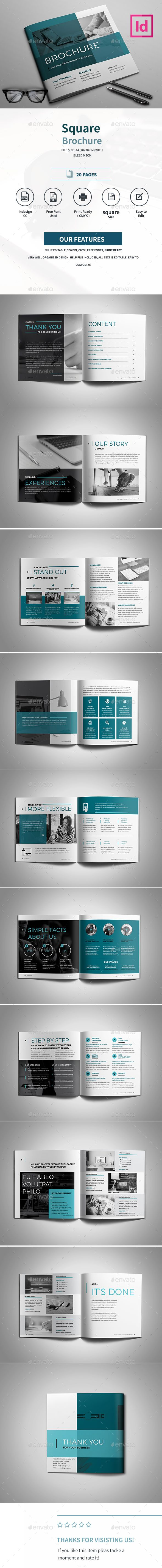 Square Brochure — InDesign INDD #elegant #business • Available here → https://graphicriver.net/item/square-brochure/17840633?ref=pxcr