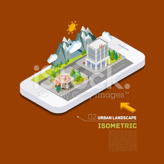 Flat landscape street infographic 3d isometric concept on the phone. royalty-free stock vector art