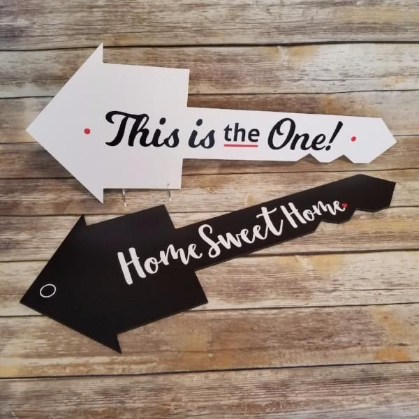"""""""the news isn't good,"""" our realtor said. Double Sided This Is The One Home Sweet Home House Key Shaped Testimonial Prop Open House Real Estate Real Estate Gifts Real Estate Fun"""