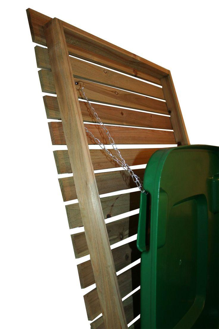 Cache-poubelle double sur roulettes - pour l'extérieur - bois