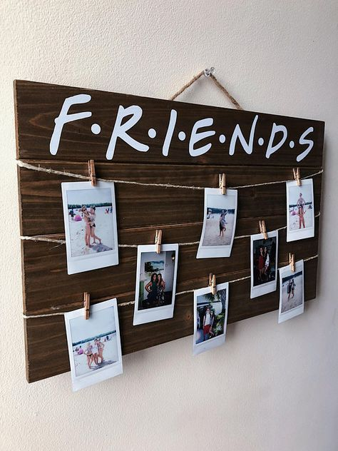 FRIENDS TV Show Wood Polaroid Sign / Polaroid Display Sign with Clips / Instax Mini Polaroids / FRIENDS Gift / Clothespins