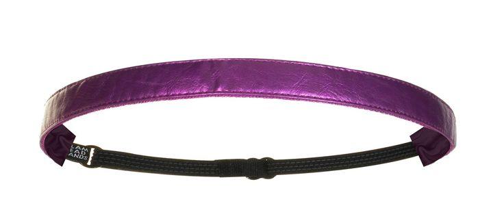 """5/8"""" Metallic Magenta Faux Leather Non-Slip Adjustable Headband"""