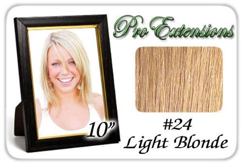 "10"" Inch #24 Light Blonde Pro Extensions Human Hair Extensions by ProExtensions. $49.99. Clips On To Existing Hair.. Increase length and fullness.. Beautiful Hair In Seconds.. 100% human hair. No synthetic material.. 10"" x 39"" clip in hair extensions.. This Pro Extensions clip in hair extension set is Colored #24, LIGHT BLONDE. Pro Extensions are 100% human hair extensions. This set of hair extensions is 10"" long and 39"" wide. This hair extensions set is Grade A..."