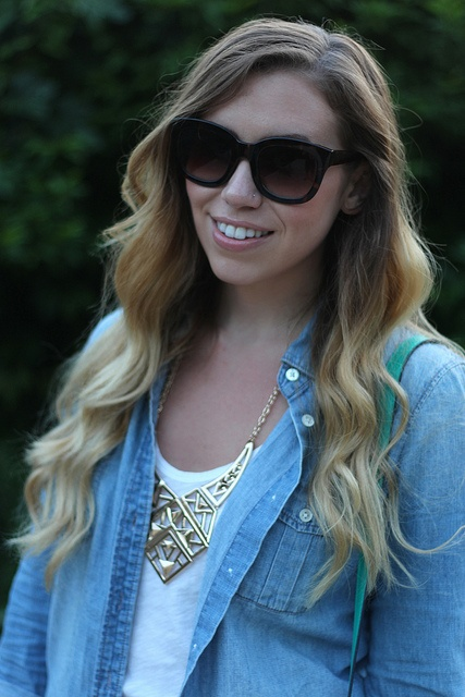 Living After Midnite: Jackie Giardina: Outdoor Party Outfit Style: White Shorts, JCrew Chambray Shirt by jackiegiardina, via Flickr @J.Crew @Forever 21