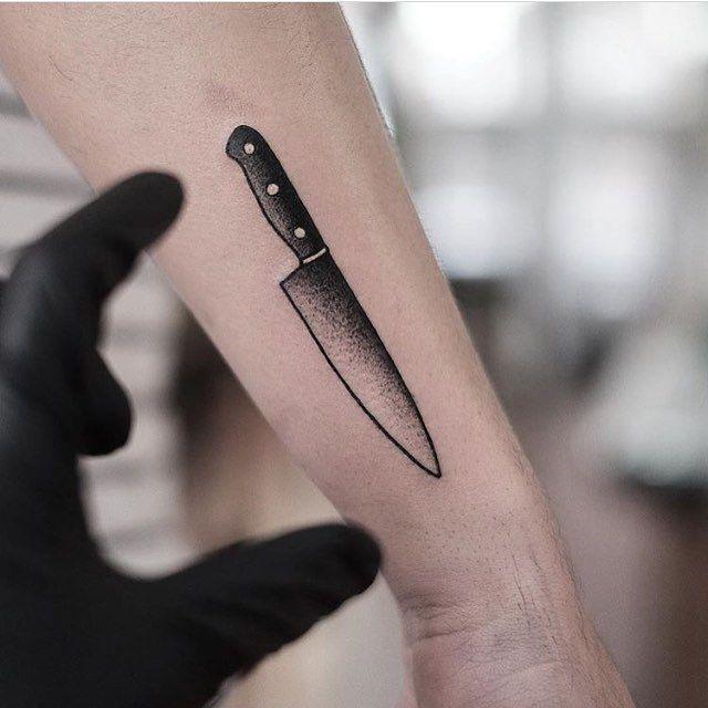 Blackwork Chef Knife Tattoo On The Forearm By Jonas Ribeiro Cooking Tattoo Knife Tattoo Culinary Tattoos #tattoos #tattoo #tattoo design #knife #knife tattoo #diamonds #daimond #diamond tattoo #art #inked #illustration #color. blackwork chef knife tattoo on the
