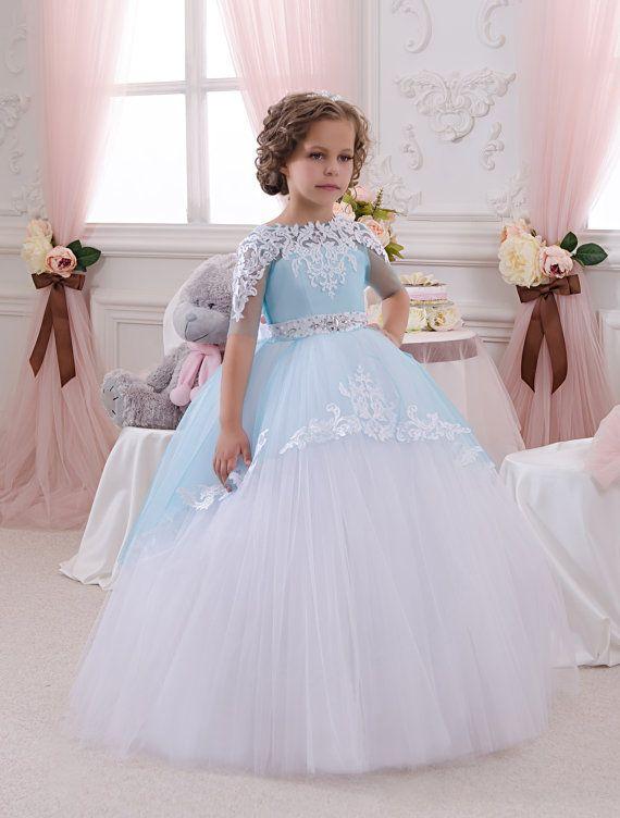 Blanco y azul vestido de niña de las flores - boda Holiday fiesta cumpleaños de Dama de honor niña de las flores blancas y tul vestido azul