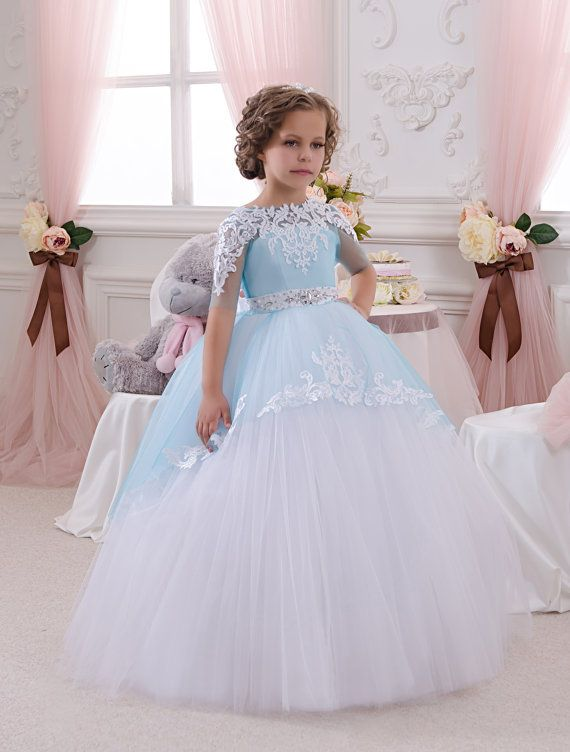White and Blue Flower Girl Dress  Wedding by KingdomBoutiqueUA