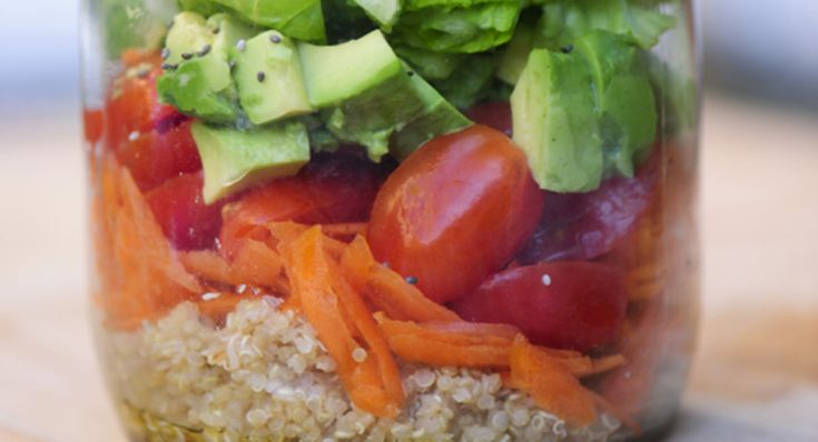 Lunchbox Stack: Quinoa, Avocado, Carrot and Chia Seeds