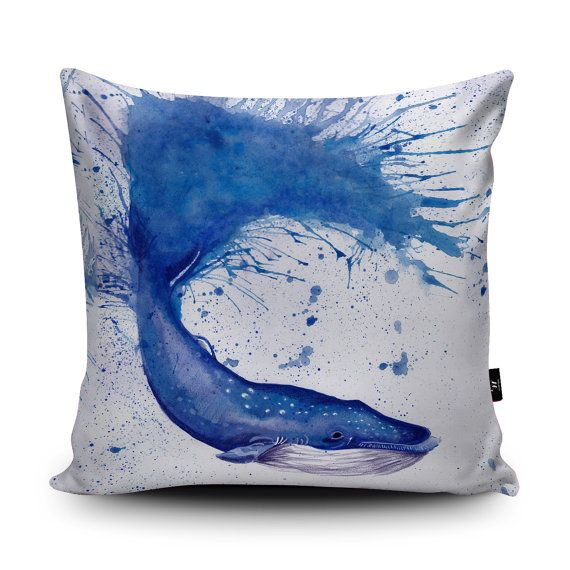 Whale Cushion Whale Pillow Blue Whale Cushion Cover by Wraptious