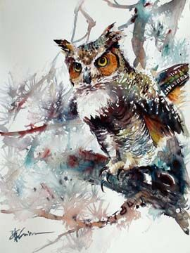 Owl - by Lian Quan Zhen (b. China - ), USA. Watercolor.