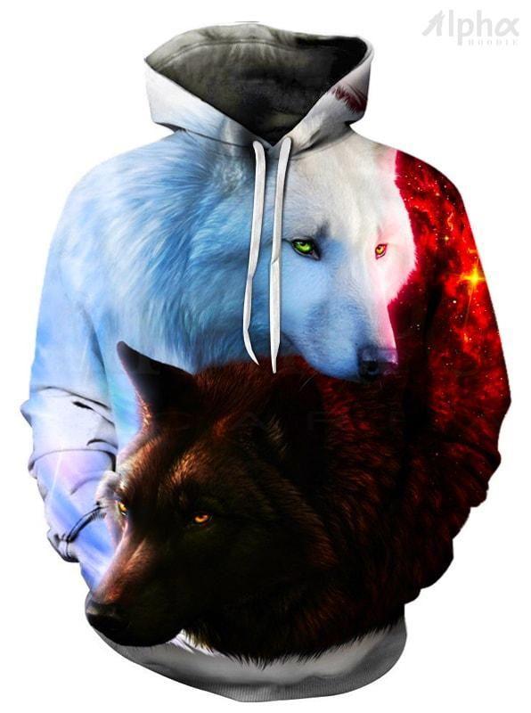 New Hoodies Men Women Sweatshirts Black White Wolf 3D Print Pullover Jacket Tops