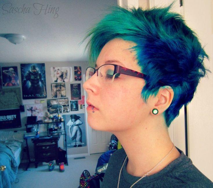 Blue Short Hair Pixie Cut