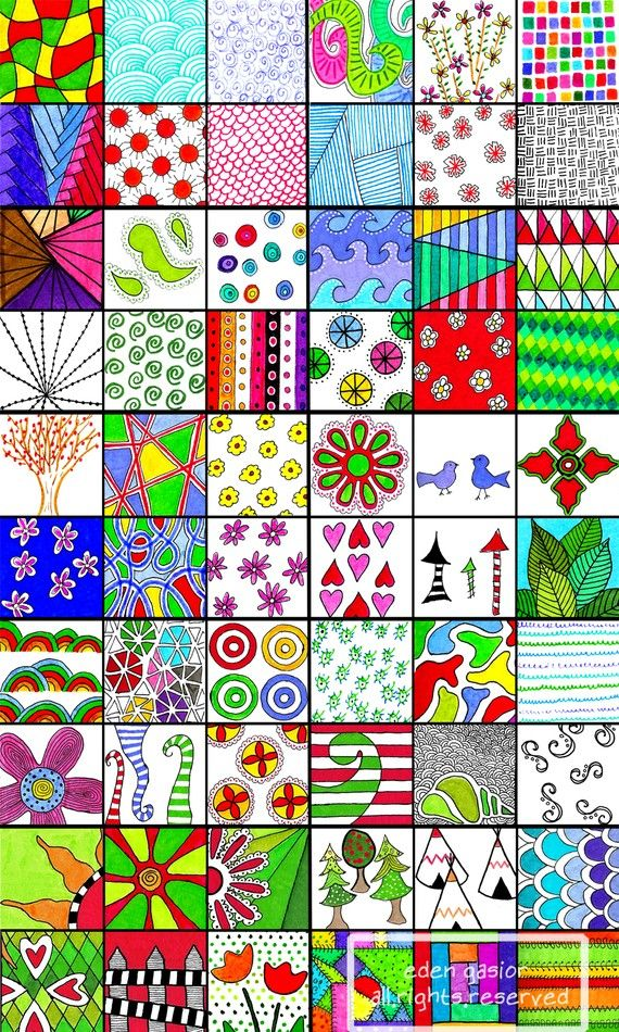 "Hmm...this could be a fun beginning of the year project for all KM classes - draw a picture or pattern that expresses yourself in ""inchie"" form. Display in group.: Color, Doodle Sampler, Art Ideas, Zentangles Patterns, Zentangle Doodle, Zentangle Pattern, Drawing"