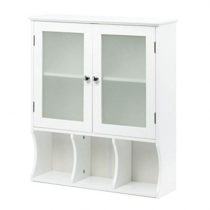 "Adding storage to your small space is easy with this slim and stylish wall cabinet. It feature two doors with frosted glass and silvery pulls, and below youll have three spaces to display necessities or accessories. Perfect for you compact bathroom or kitchen. Contents not included. Weight	20.8 pounds Dimensions	23.6"" x 7.38"" x 26.9"" WOOD - MDF"