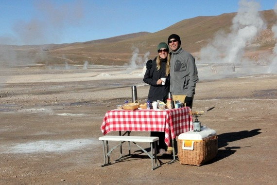 Breakfast by Awasi, at the Tatio Geysers in the Atacama Desert, Chile. El Tatio is the largest geyser field in the southern hemisphere and the third largest field in the world