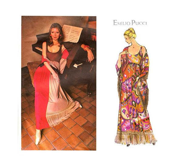 Vintage Pucci Long Dress Pattern with Shawl by VirtualVintage, $40.00