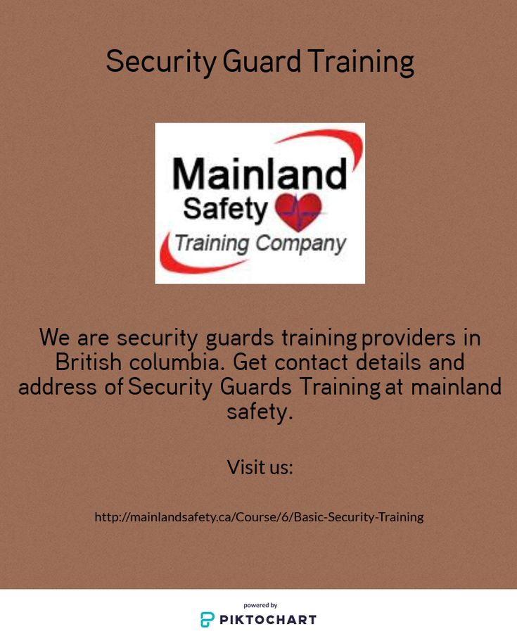 We are security guards training providers in British columbia. Get contact details and address of Security Guards Training at mainland safety.