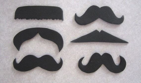 EDIBLE CUPCAKE TOPPERS -Mustache Cupcake/Cookie Topper Assortment  1 by sweetenyourday, $8.00