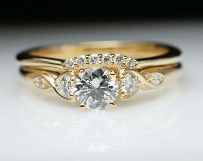 Vintage Antique Style Diamond Engagement Ring Wedding Band S Engagement Rings Wedding Bands Set Engagement Rings Round Gold Round Yellow Gold Engagement Ring