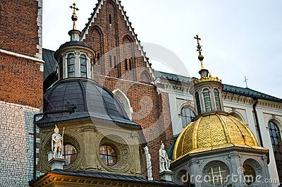 The golden dome of Wawel cathedral, Poland.
