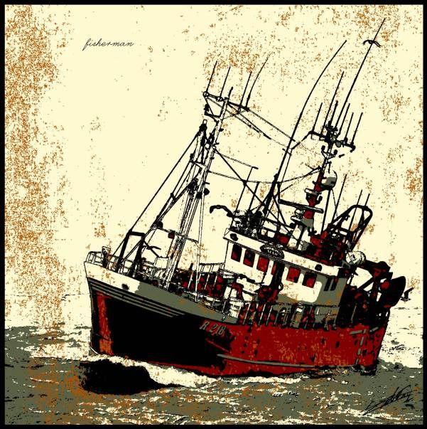 Tableau bateau mer navire peinture océan pêcheur chalutier contemporain