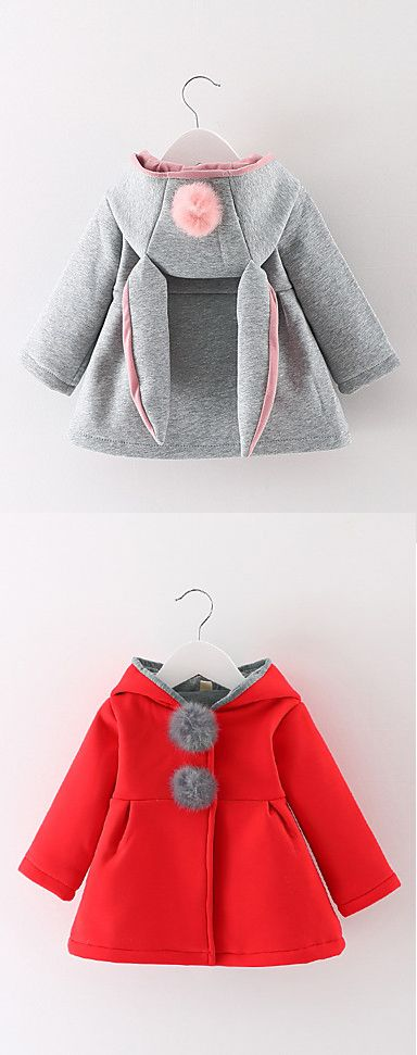 Add this charming bunny ears baby coat to your kid's wardrobe. It comes in red and grey colors at $12.99