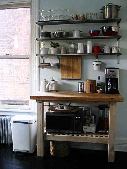 Rental Kitchen nightmare #2: little cabinet and counter space    Rental Remedy: wall shelving and portable kitchen carts!