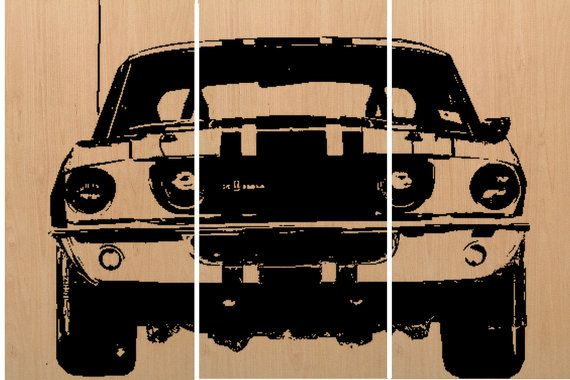 Old Muscle Car - Vintage Car  - Screen Print - Wood Painting - Wall Art on Stained Solid BIRCH Wood 3/4 inch thick