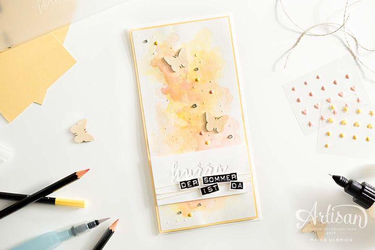 Eine farbenfrohe, sommerliche und fröhliche Karte, welche mit der Prägeform Feierliches Duo und den Aquarellstiften von Stampin' Up! gestaltet wurde.
