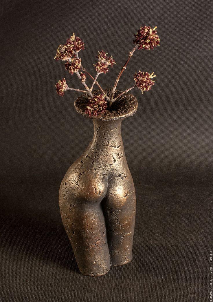 Купить Ваза апетитная - комбинированный, керамика ручной работы, ваза, торс, женские прелести