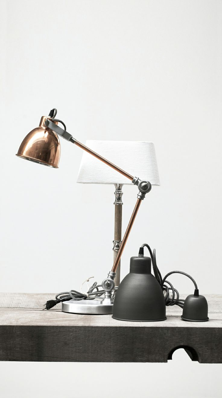 ANNA LIGHTING copper lamp, ANNA LIGHTING pendant in dark cement and ALBA LIGHTING table lamp with RUSTIC LINEN shade. Lene Bjerre, spring 2014.