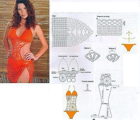 Woohoo! Sexy crochet swim suit pattern diagram.